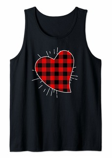 Buffalo Jeans Valentine's Day Buffalo Plaid Heart Matching Love Tank Top