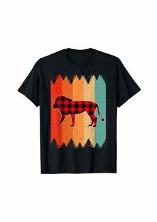 Buffalo Jeans Vintage Retro Buffalo Plaid African Lion Christmas Gifts T-Shirt