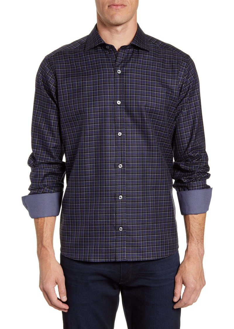 Bugatchi Classic Fit Check Button-Up Sport Shirt