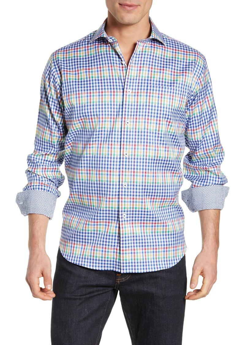 Bugatchi Classic Fit Check Print Sport Shirt