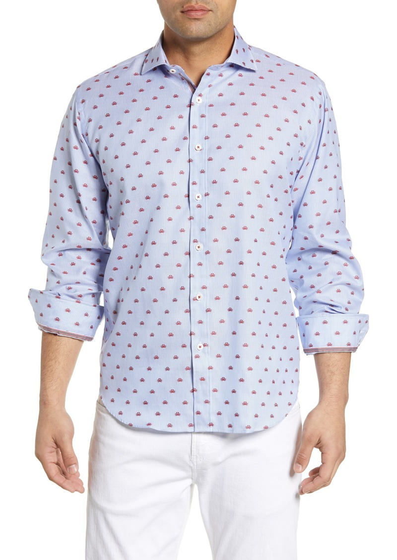 Bugatchi Classic Fit Crab Embroidered Sport Shirt