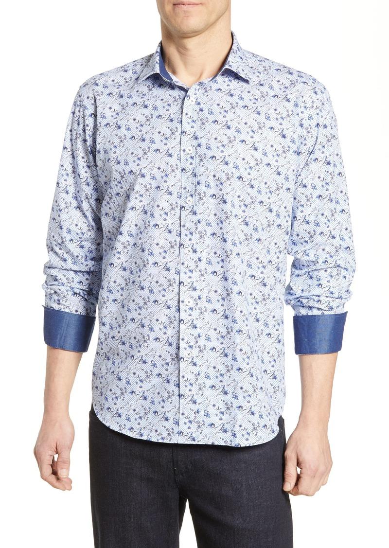 Bugatchi Classic Fit Floral Print Cotton Sport Shirt