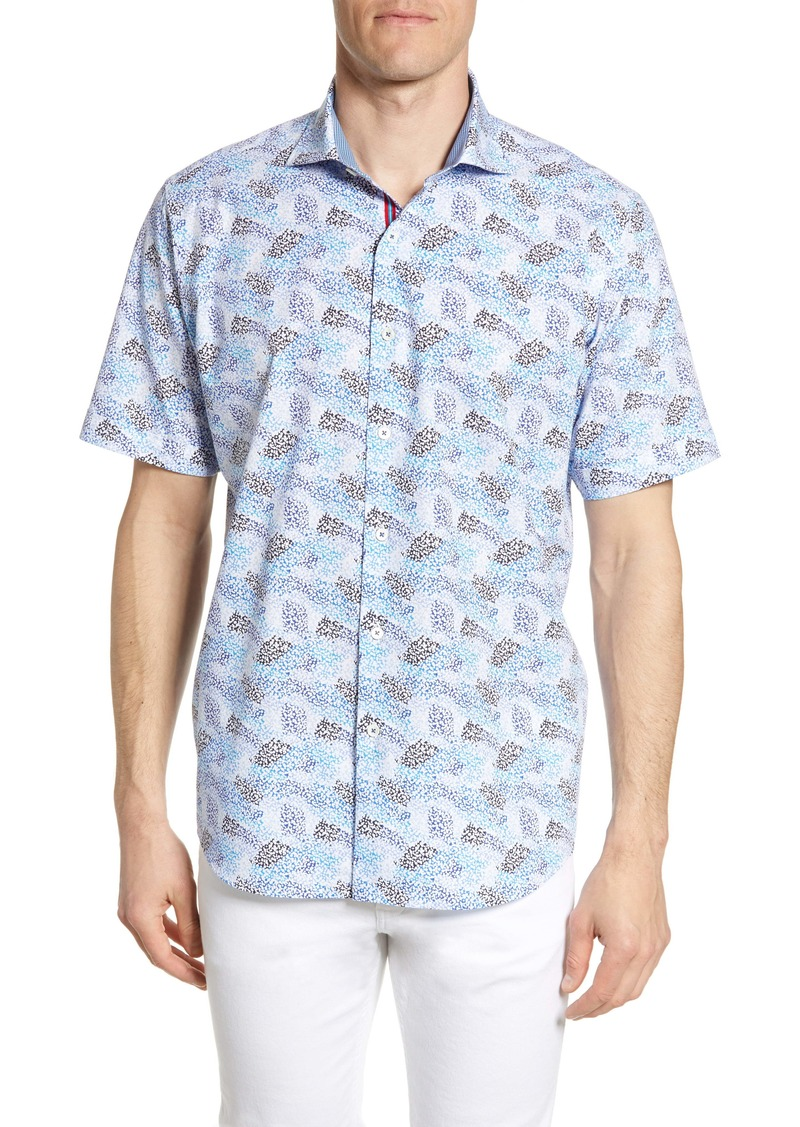 Bugatchi Classic Fit Floral Print Short Sleeve Button-Up Shirt
