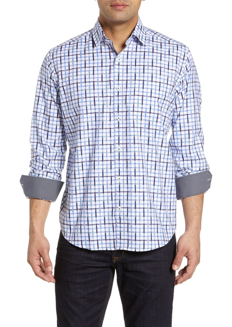 Bugatchi Classic Fit Multitone Check Cotton Shirt