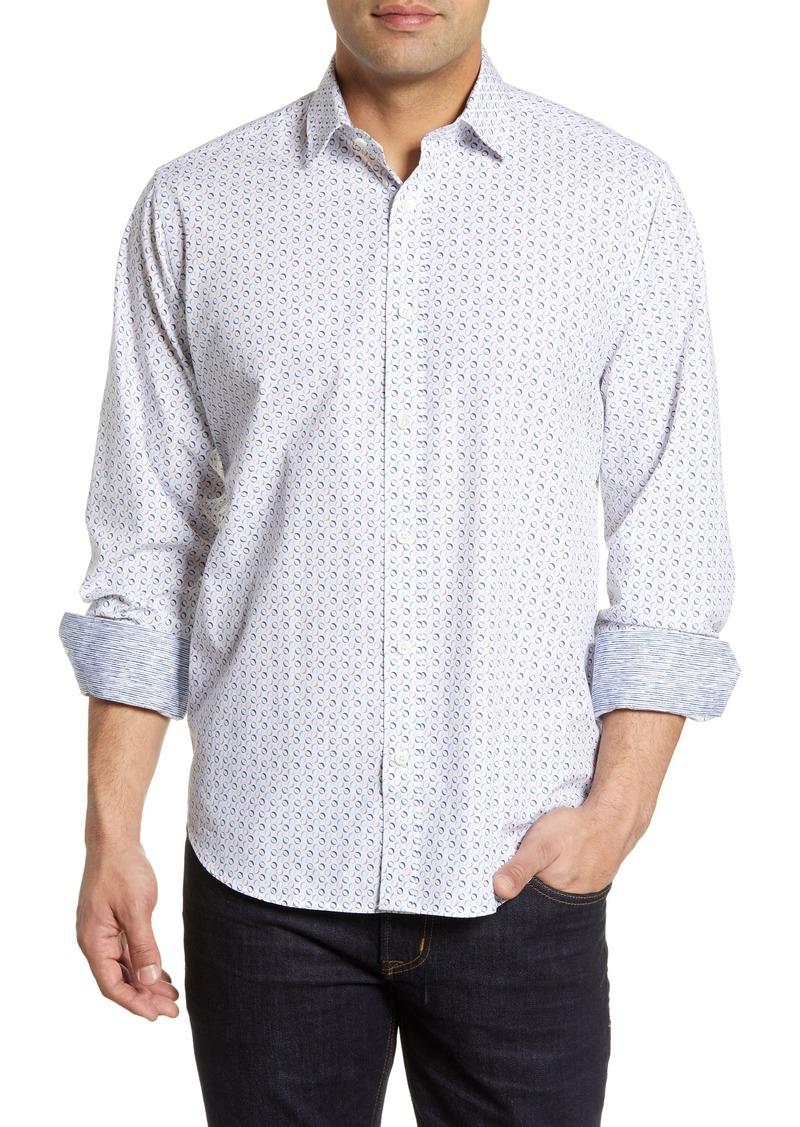Bugatchi Classic Fit Oval Print Cotton Shirt