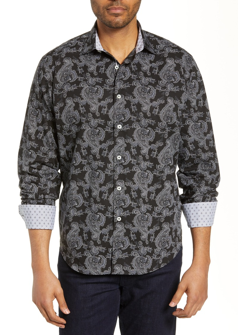 Bugatchi Classic Fit Paisley Cotton Shirt