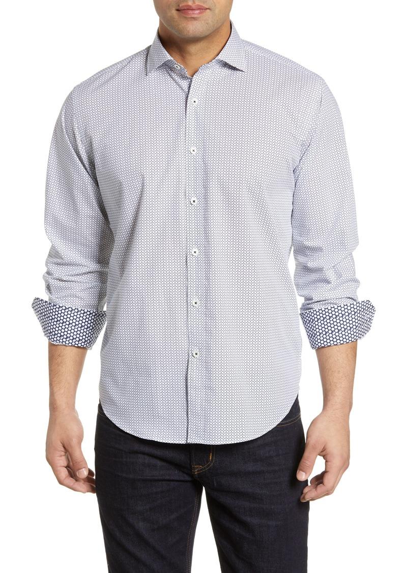 Bugatchi Classic Fit Print Cotton Shirt