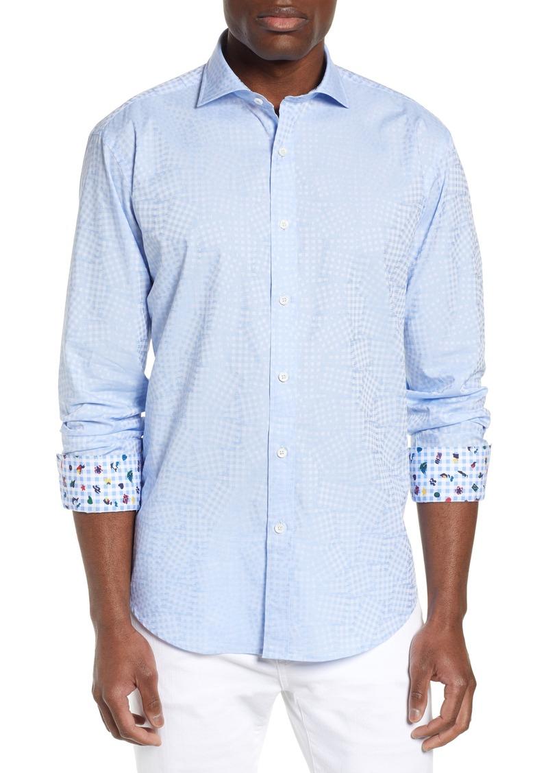 Bugatchi Shaped Fit Print Cotton Sport Shirt