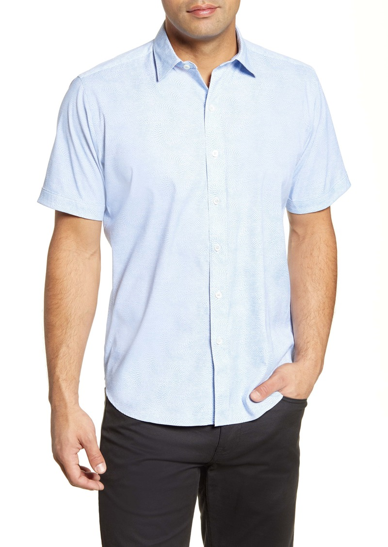 Bugatchi Classic Fit Short Sleeve Button-Up Performance Shirt
