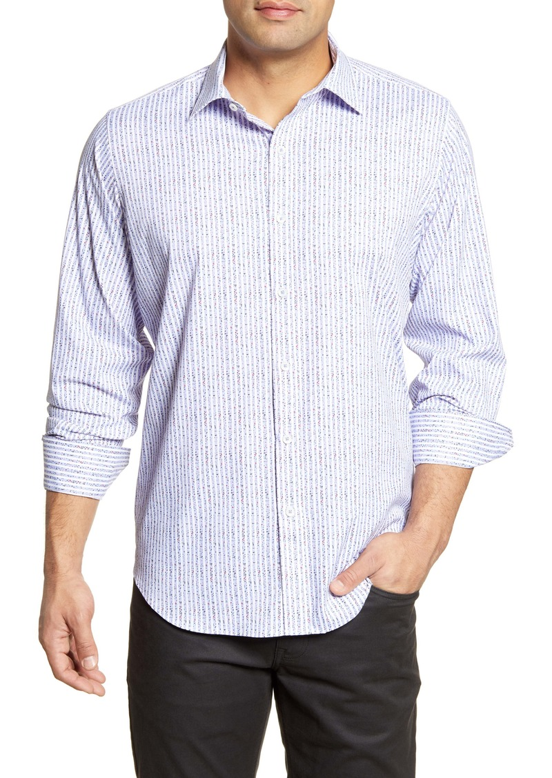 Bugatchi Classic Fit Stripe Button-Up Performance Shirt