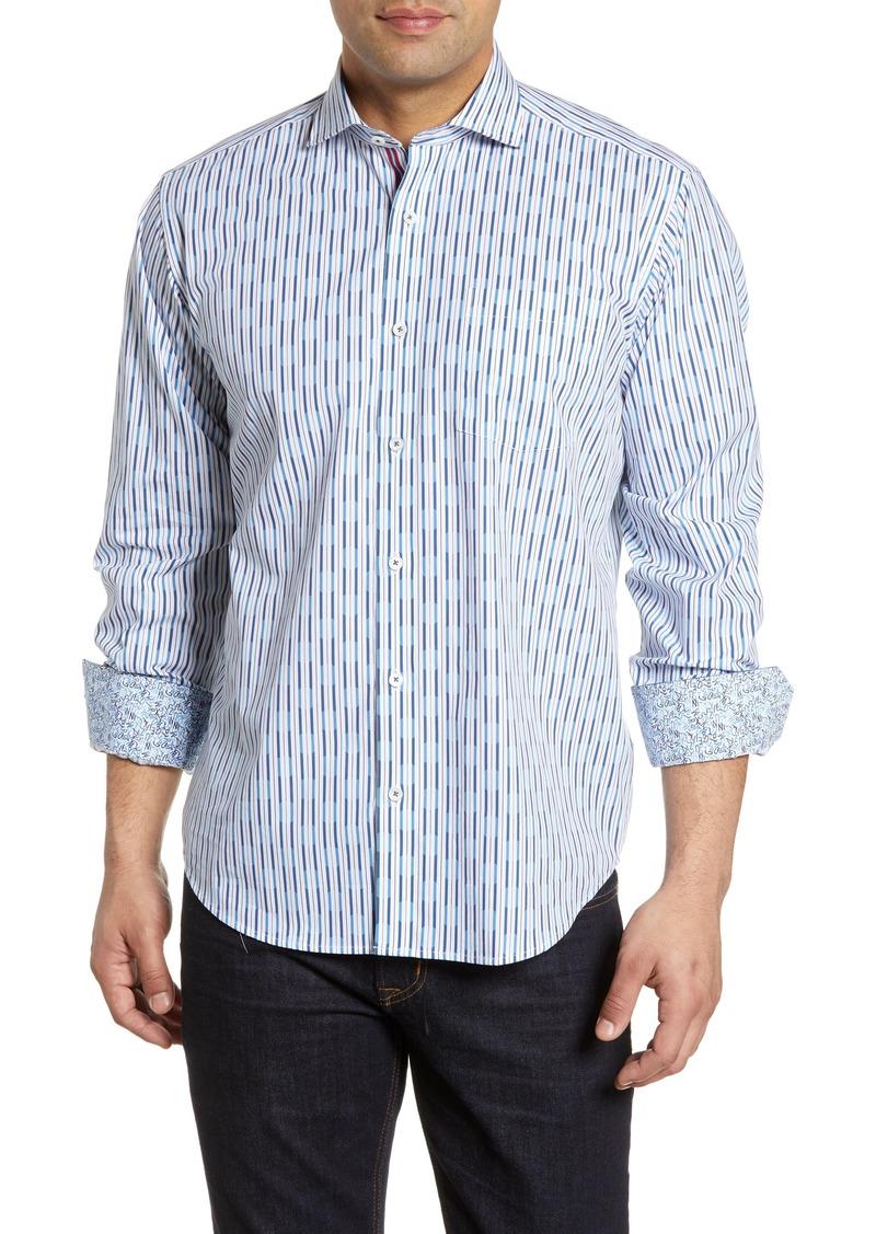 Bugatchi Classic Fit Stripe Cotton Sport Shirt