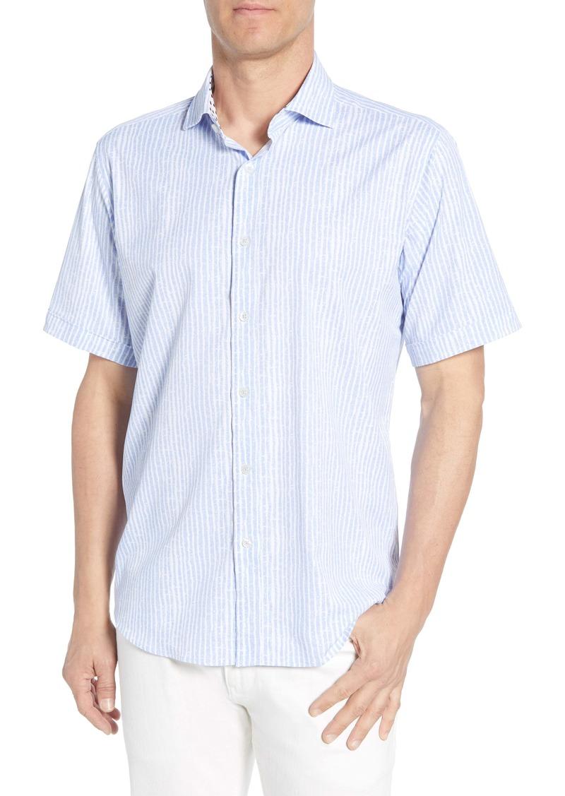 Bugatchi Classic Fit Stripe Performance Shirt