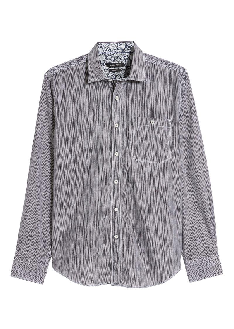 Bugatchi Classic Fit Twig Stripe Cotton Shirt