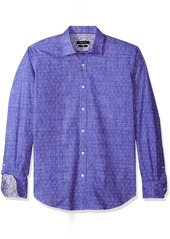 Bugatchi Men's Fitted Mini Flowers Voile Ground Motif Woven Shirt  M