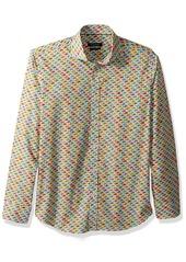 Bugatchi Men's Fitted Printed Grand Prix Motif Spread Collar Shirt  XXL