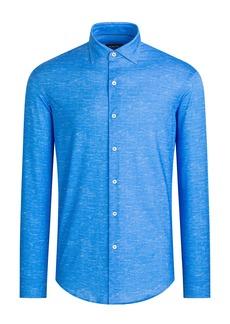 Bugatchi OoohCotton® Tech Chambray Knit Button-Up Shirt