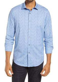 Bugatchi OoohCotton® Tech Men's Geo Print Knit Button-Up Shirt