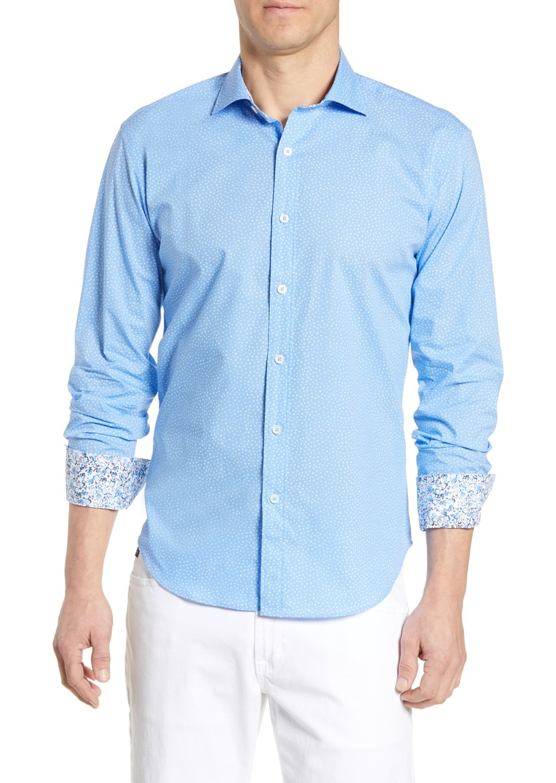 Bugatchi Shaped Fit Damask Print Cotton Sport Shirt