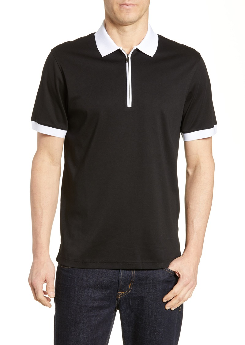 Bugatchi Regular Fit Zip Polo