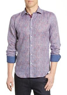 Bugatchi Shaped Fit Abstract Print Cotton Shirt
