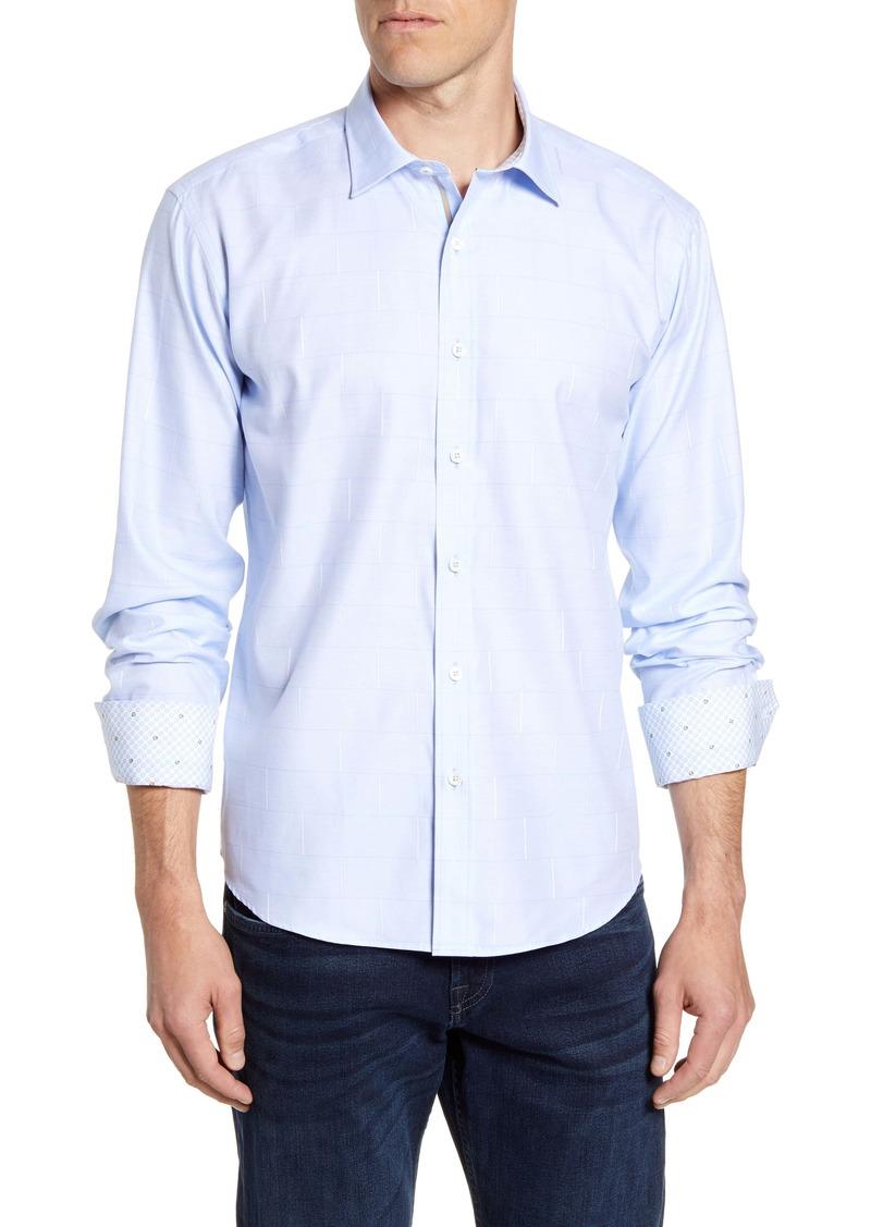 Bugatchi Shaped Fit Brick Print Button-Up Shirt