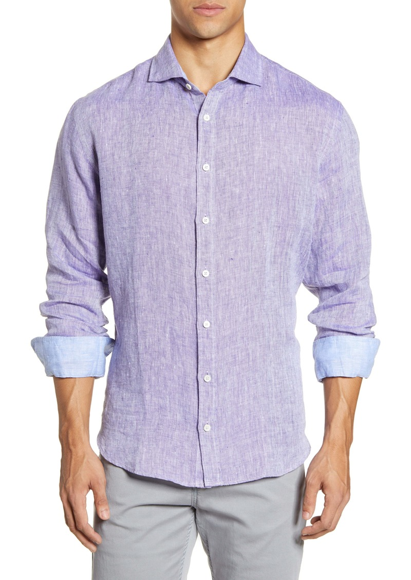 Bugatchi Shaped Fit Button-Up Linen Shirt