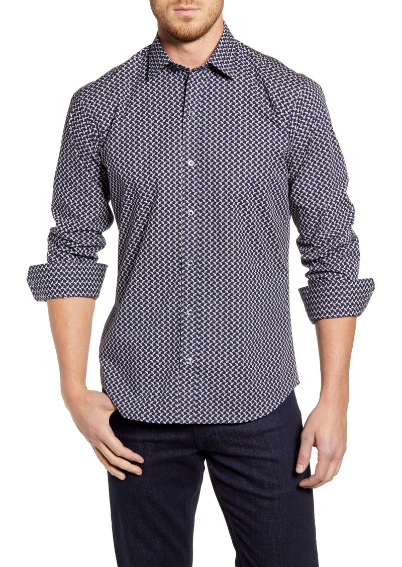 Bugatchi Shaped Fit Button-Up Sport Shirt