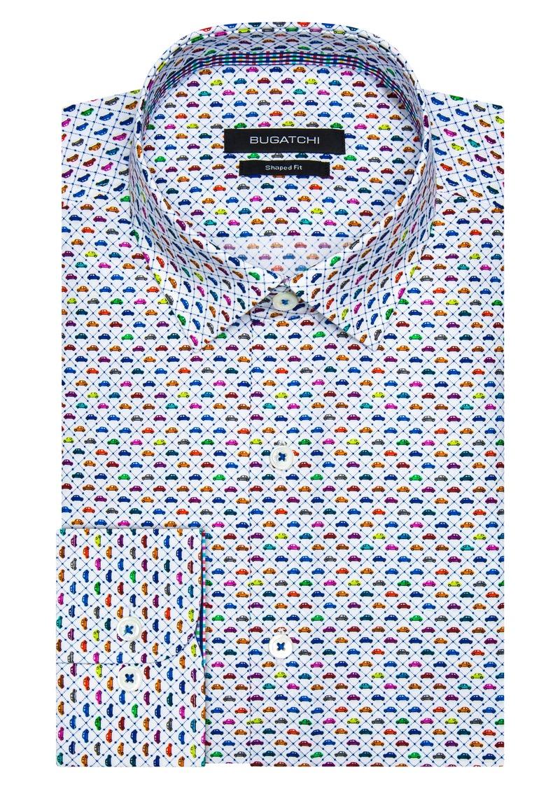Bugatchi Shaped Fit Car Print Dress Shirt
