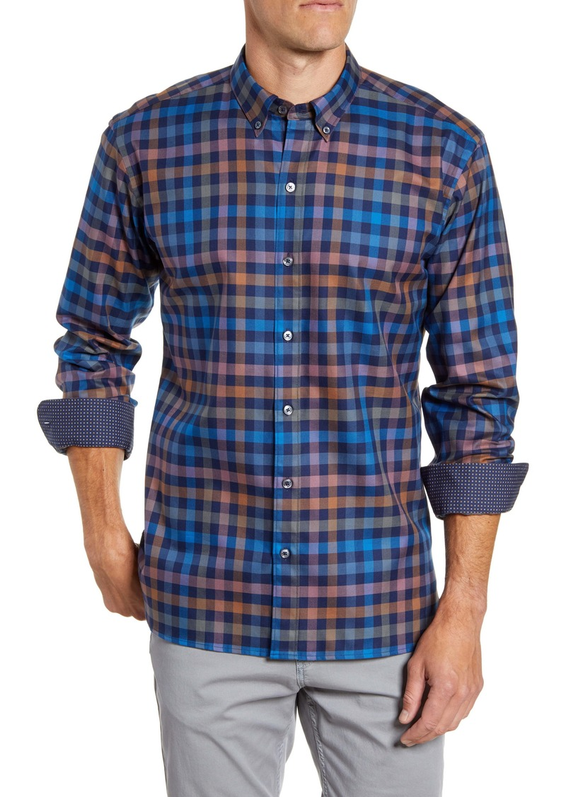 Bugatchi Shaped Fit Check Button-Down Sport Shirt