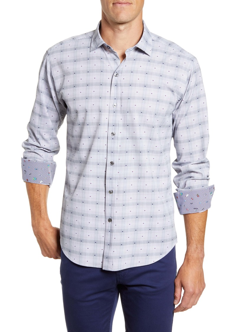 Bugatchi Shaped Fit Check Button-Up Performance Shirt