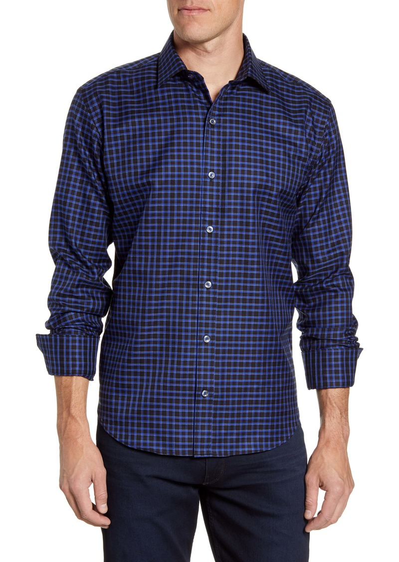 Bugatchi Shaped Fit Check Button-Up Sport Shirt