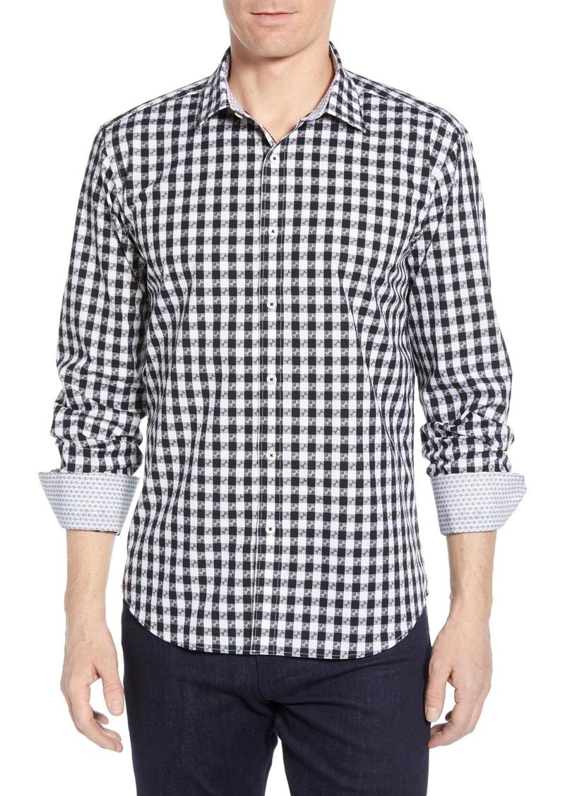 Bugatchi Shaped Fit Check Cotton Shirt