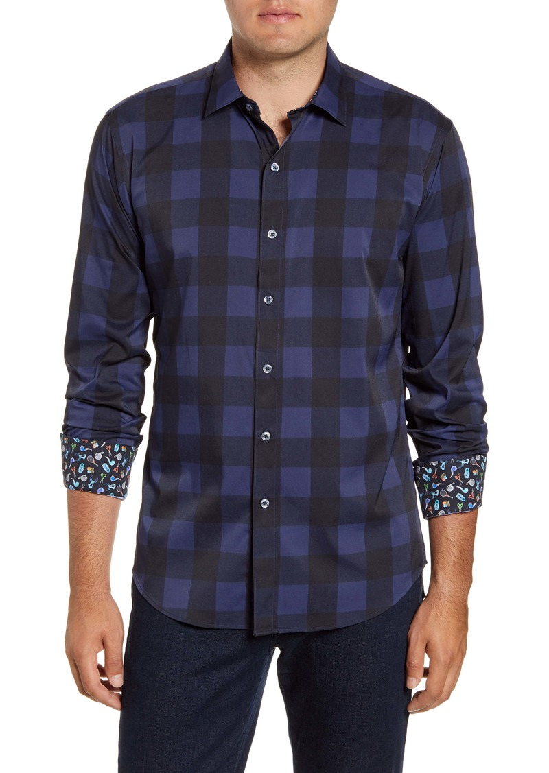 Bugatchi Shaped Fit Check Performance Button-Up Shirt