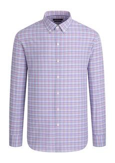 Bugatchi Shaped Fit Check Stretch Button-Down Shirt