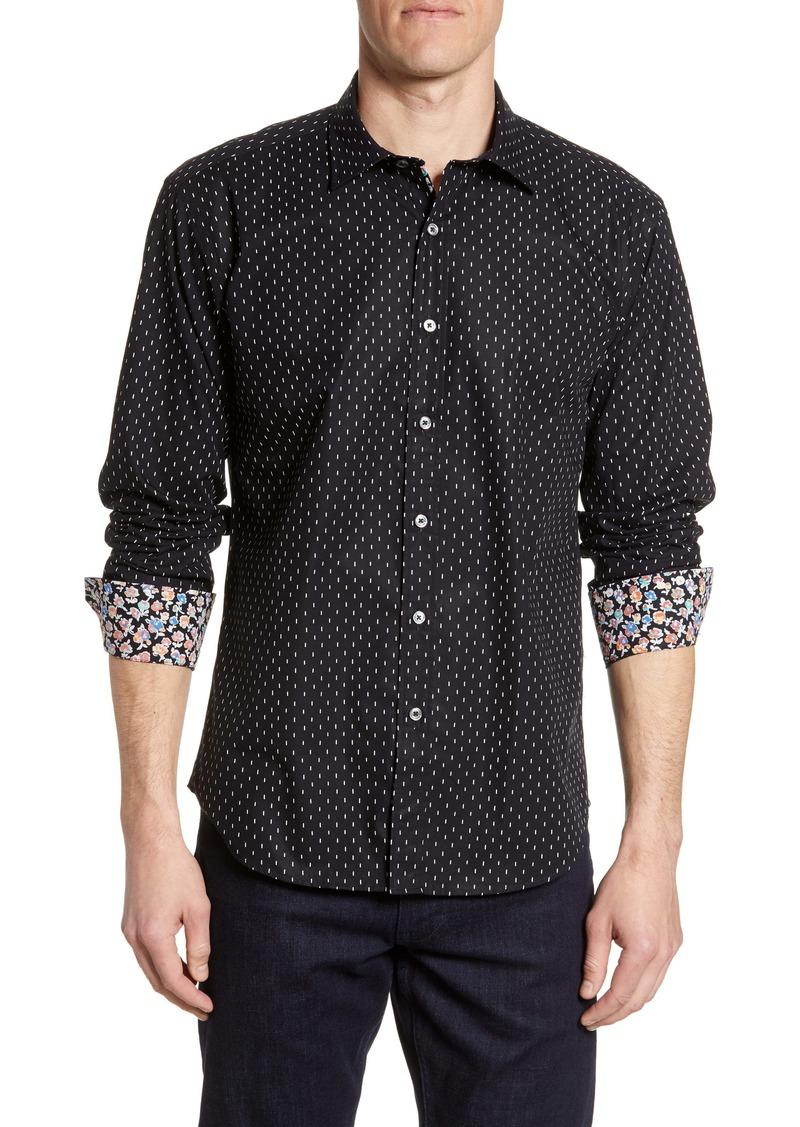 Bugatchi Shaped Fit Dash Print Shirt