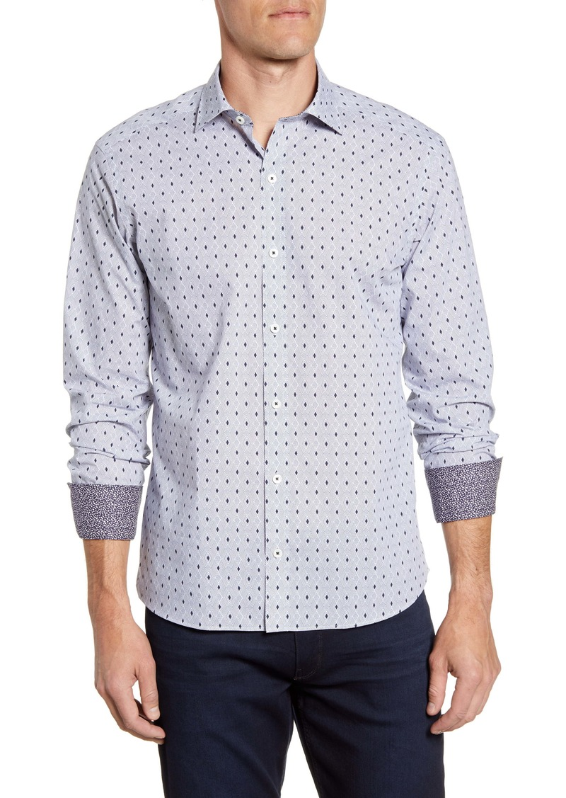 Bugatchi Shaped Fit Diamond Print Button-Up Sport Shirt