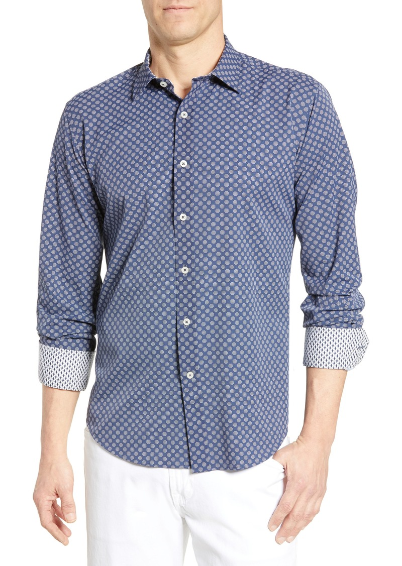 Bugatchi Shaped Fit Dot Grid Performance Shirt