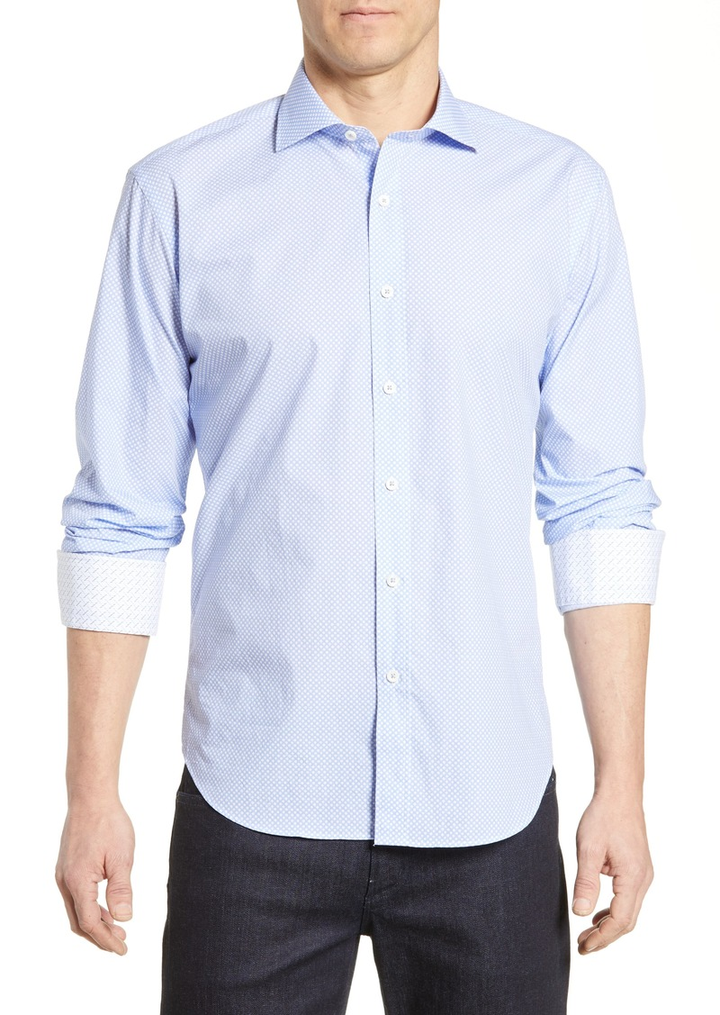 Bugatchi Shaped Fit Dot Print Sport Shirt