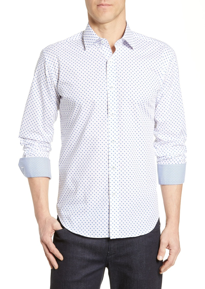 Bugatchi Shaped Fit Dot Print Sport Shirt