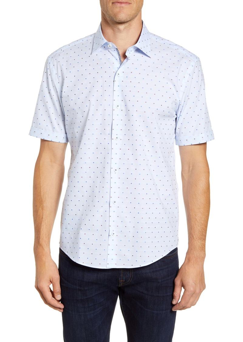 Bugatchi Shaped Fit Dot Short Sleeve Sport Shirt