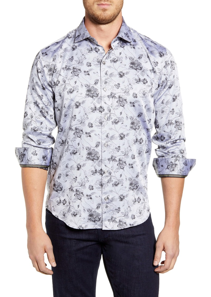 Bugatchi Shaped Fit Floral Button-Up Sport Shirt