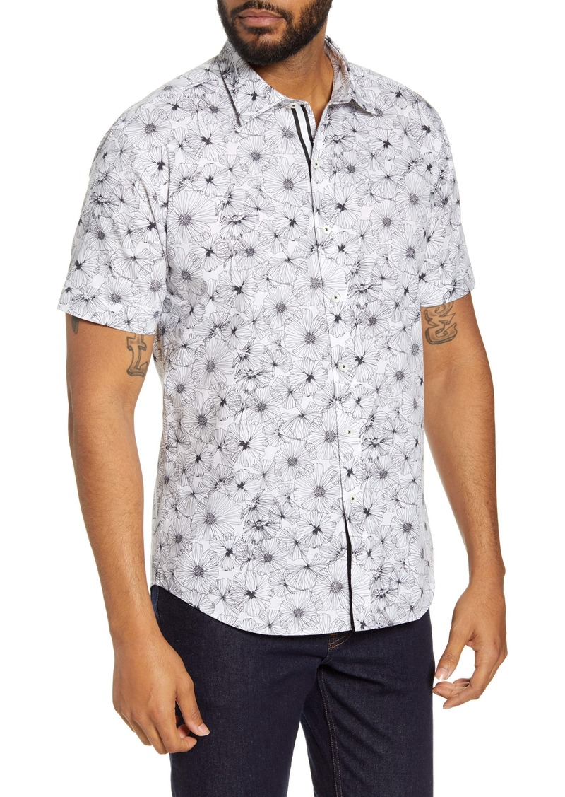 Bugatchi Shaped Fit Floral Print Button-Up Shirt