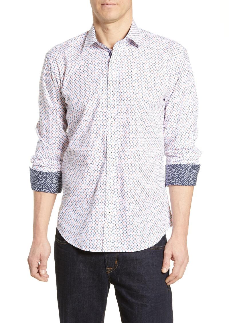 Bugatchi Shaped Fit Floral Print Cotton Sport Shirt