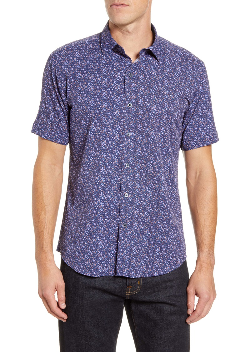 Bugatchi Shaped Fit Floral Short Sleeve Button-Up Performance Shirt