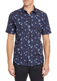 Bugatchi Shaped Fit Floral Short Sleeve Button-Up Shirt