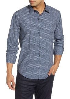 Bugatchi Shaped Fit Geo Print Button-Up Sport Shirt