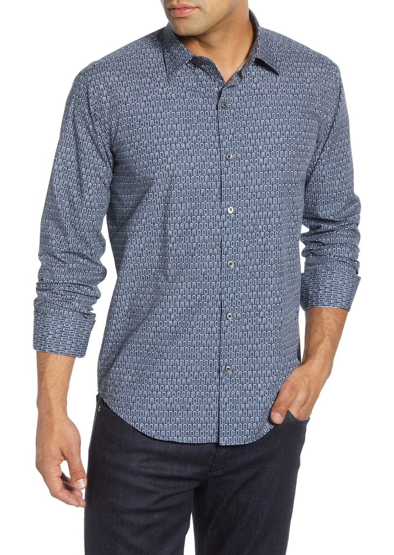 Bugatchi Shaped Fit Geo Print Button-Up Sport Shirt