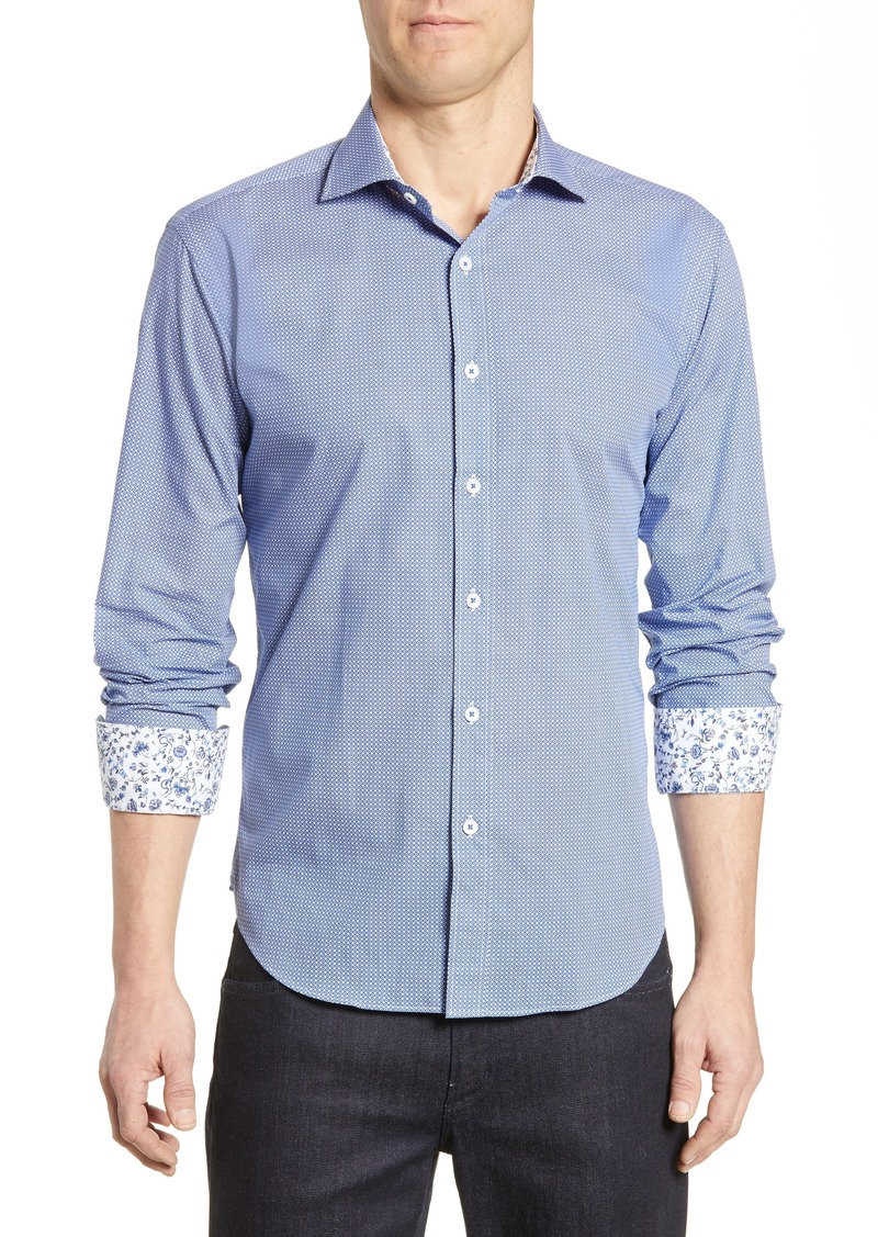 Bugatchi Shaped Fit Geo Print Cotton Sport Shirt