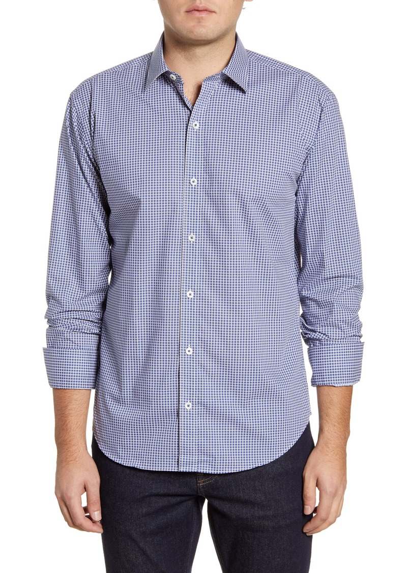 Bugatchi Shaped Fit Geometric Button-Up Shirt