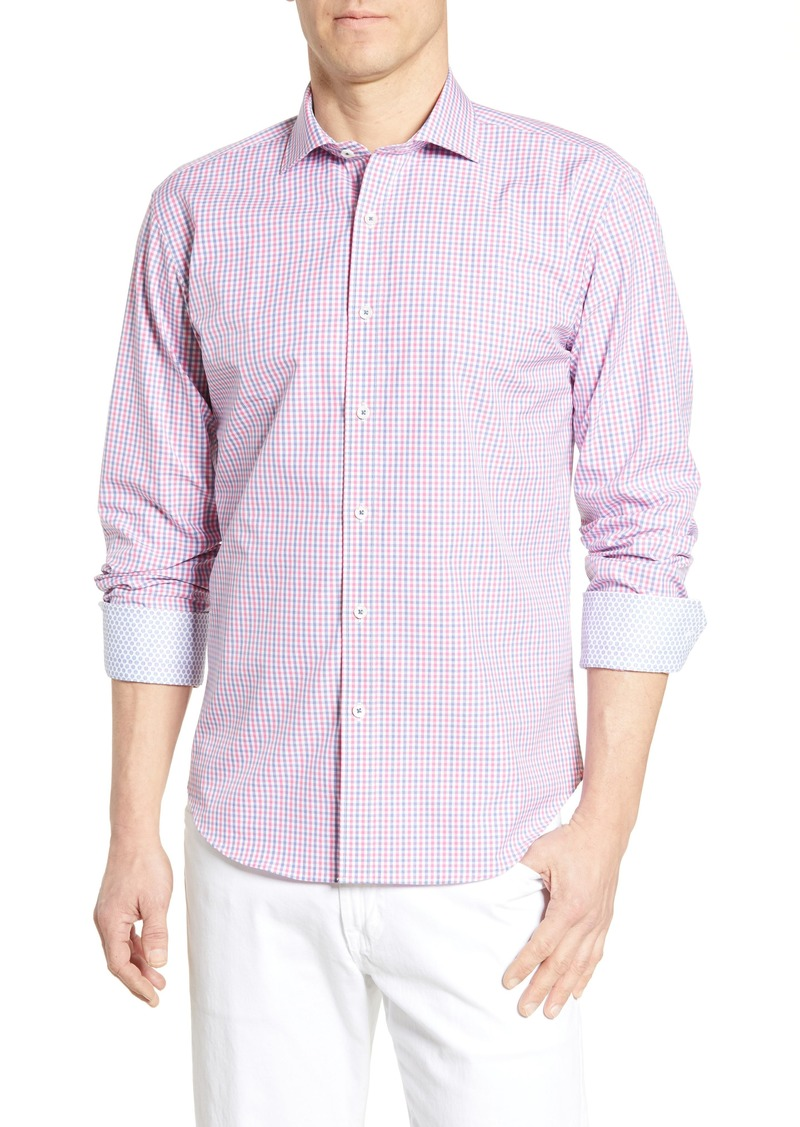 Bugatchi Shaped Fit Gingham Cotton Shirt